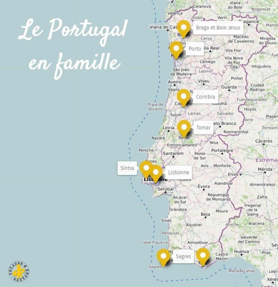 Voyage, vacances Portugal en famille destinations carte